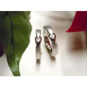プラチナ 結婚指輪【本物の鍛造】細長いハートのデザイン 艶消し&光沢のコンビでハートが引き立つ!|kouki|02