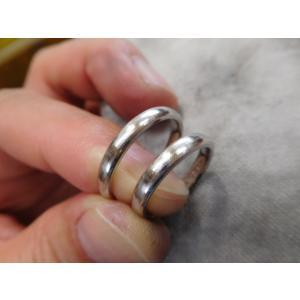 プラチナ結婚指輪(鍛造&彫金)光沢&マット 繋がるハート&ツイスト|kouki|02
