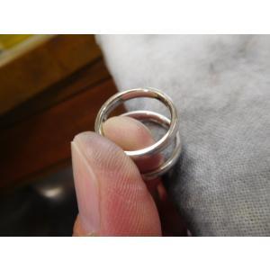 プラチナ結婚指輪(鍛造&彫金)光沢&マット 繋がるハート&ツイスト|kouki|03