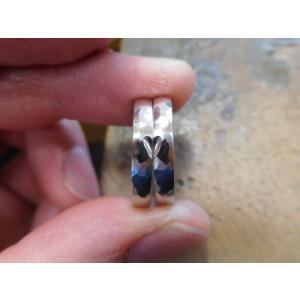 プラチナ結婚指輪(鍛造&彫金)光沢&艶消しコンビ 雫&滴 まが玉|kouki