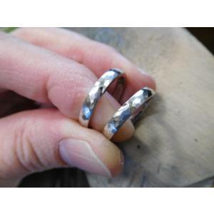 プラチナ結婚指輪(鍛造&彫金)光沢&艶消しコンビ 雫&滴 まが玉|kouki|04