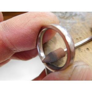 プラチナ結婚指輪(鍛造&彫金)光沢&艶消しコンビ 雫&滴 まが玉|kouki|06