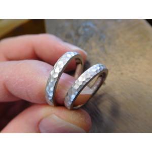 プラチナ結婚指輪(鍛造&彫金)光沢 2本を合わせると星 スターリング|kouki