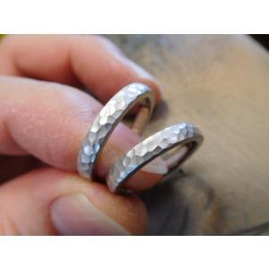 プラチナ結婚指輪(鍛造&彫金)光沢 2本を合わせると星 スターリング|kouki|02