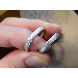 プラチナ結婚指輪(鍛造&彫金)光沢 2本を合わせると星 スターリング|kouki|03