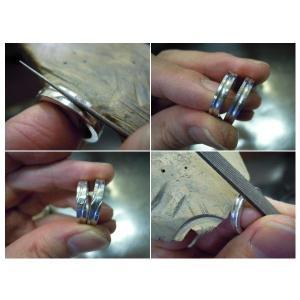 プラチナ結婚指輪(鍛造&彫金)光沢&艶消しコンビ 甲丸に極太ライン|kouki|04