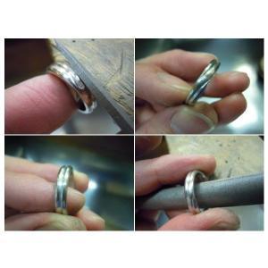 プラチナ結婚指輪(鍛造&彫金)光沢&艶消しコンビ 甲丸に極太ライン|kouki|05