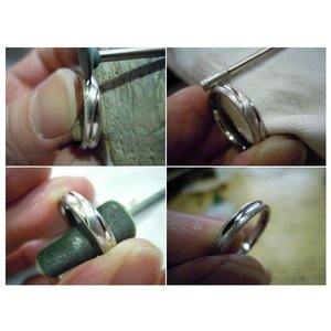 プラチナ結婚指輪(鍛造&彫金)光沢&艶消しコンビ 甲丸に極太ライン|kouki|06