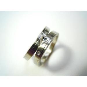 プラチナ結婚指輪(鍛造&彫金)光沢&マット ハート&ライン ダイヤ入り|kouki