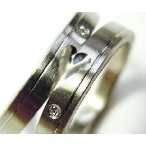 プラチナ 結婚指輪【本物の鍛造】可愛いより格好いいハートのデザイン!荒仕上げの平打ちにハートが映える!|kouki|03
