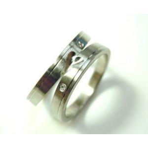 プラチナ結婚指輪(鍛造&彫金)光沢&マット ハート&ライン ダイヤ入り|kouki|05