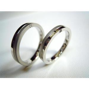 プラチナ 結婚指輪【本物の鍛造】厚みのある平打ちの側面に石、サイドストーン!光沢と艶消しのコンビが魅力的|kouki