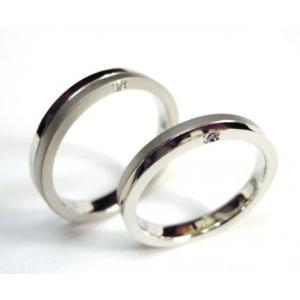 プラチナ 結婚指輪【本物の鍛造】厚みのある平打ちの側面に石、サイドストーン!光沢と艶消しのコンビが魅力的|kouki|02