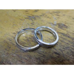 プラチナ 結婚指輪【本物の鍛造】厚みのある平打ちの側面に石、サイドストーン!光沢と艶消しのコンビが魅力的|kouki|20