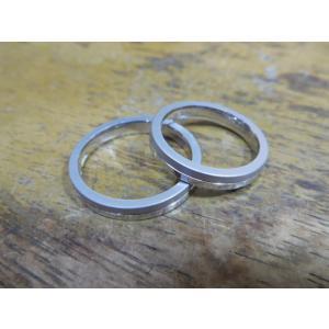 プラチナ 結婚指輪【本物の鍛造】厚みのある平打ちの側面に石、サイドストーン!光沢と艶消しのコンビが魅力的|kouki|21