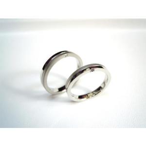 プラチナ 結婚指輪【本物の鍛造】厚みのある平打ちの側面に石、サイドストーン!光沢と艶消しのコンビが魅力的|kouki|04