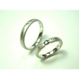 プラチナ 結婚指輪【本物の鍛造】艶消しをメインにした丸い甲丸デザイン!ワンポイントに光るダイヤとライン|kouki