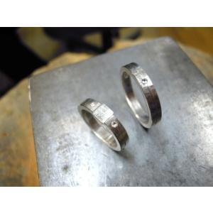 プラチナ 結婚指輪【本物の鍛造】艶消しをメインにした丸い甲丸デザイン!ワンポイントに光るダイヤとライン|kouki|17