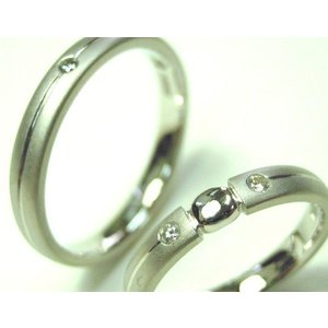 プラチナ 結婚指輪【本物の鍛造】艶消しをメインにした丸い甲丸デザイン!ワンポイントに光るダイヤとライン|kouki|03