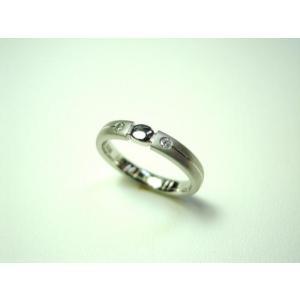 プラチナ 結婚指輪【本物の鍛造】艶消しをメインにした丸い甲丸デザイン!ワンポイントに光るダイヤとライン|kouki|04