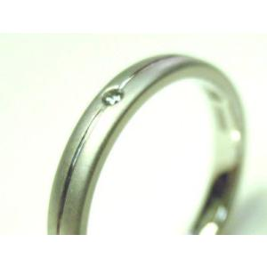 プラチナ 結婚指輪【本物の鍛造】艶消しをメインにした丸い甲丸デザイン!ワンポイントに光るダイヤとライン|kouki|05