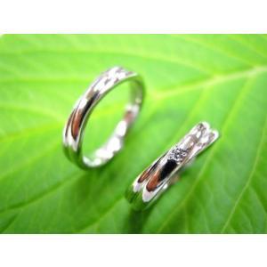 プラチナ結婚指輪(鍛造&彫金)光沢 二連&交差デザイン ダイヤ入り|kouki