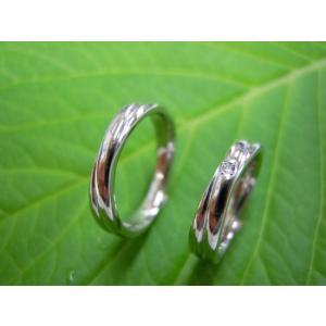 プラチナ結婚指輪(鍛造&彫金)光沢 二連&交差デザイン ダイヤ入り kouki 05