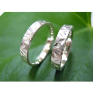 プラチナ 結婚指輪【本物の鍛造】桜の花びらを打ち出した特注の槌目!艶消しの平打ちに桜の槌目模様|kouki