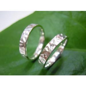 プラチナ結婚指輪(鍛造&彫金)光沢 桜の限定打ち出し&鎚目|kouki