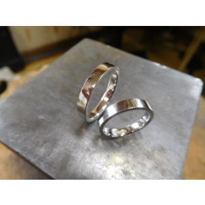 プラチナ結婚指輪(鍛造&彫金)光沢&マット 手彫り桜 和彫り桜|kouki