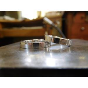 プラチナ結婚指輪(鍛造&彫金)光沢&艶消しコンビ 丸くて優しい三角形|kouki|02