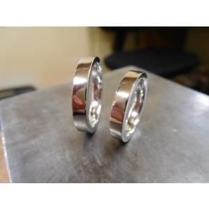 プラチナ結婚指輪(鍛造&彫金)光沢 シンプル平打ち フラット&ストレート|kouki