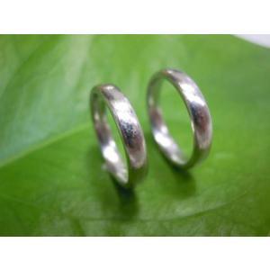 プラチナ結婚指輪(鍛造&彫金)荒仕上げ&荒削り シンプルでストレートの甲丸|kouki