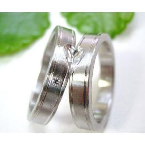 プラチナ結婚指輪(鍛造&彫金)光沢&マット 平打ちにハート&ライン|kouki|05