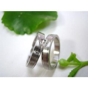 プラチナ結婚指輪(鍛造&彫金)光沢&マット 平打ちリング ハートにミル打ち|kouki|02