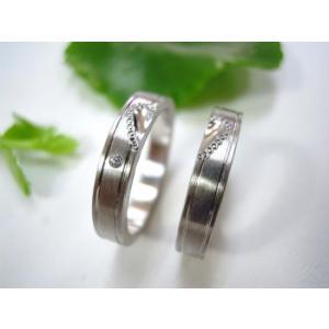 プラチナ結婚指輪(鍛造&彫金)光沢&マット 平打ちリング ハートにミル打ち|kouki|04