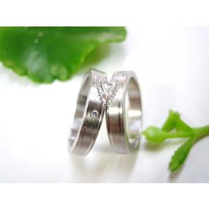 プラチナ結婚指輪(鍛造&彫金)光沢&マット 平打ちリング ハートにミル打ち|kouki|05