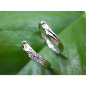 プラチナ結婚指輪(鍛造&彫金)光沢 風や波や海をイメージ ダイヤ入り|kouki