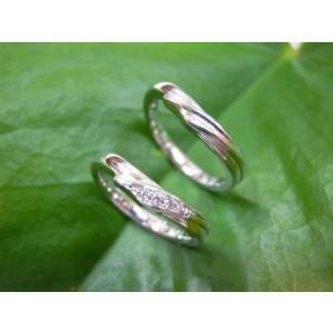 プラチナ結婚指輪(鍛造&彫金)光沢 風や波や海をイメージ ダイヤ入り|kouki|03