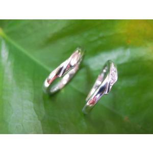 プラチナ結婚指輪(鍛造&彫金)光沢 風や波や海をイメージ ダイヤ入り|kouki|04