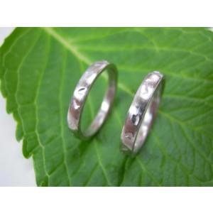 プラチナ結婚指輪(鍛造&彫金)荒仕上げ&荒削り 甲丸リングに桜の打ち出し kouki