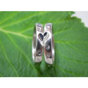 プラチナ結婚指輪(鍛造&彫金)荒仕上げ 甲丸にハート彫り&桜打ち出し kouki 05