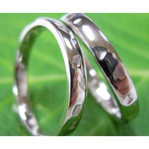 プラチナ結婚指輪(鍛造&彫金)光沢 シンプルな甲丸リングに桜の打ち出し|kouki|05