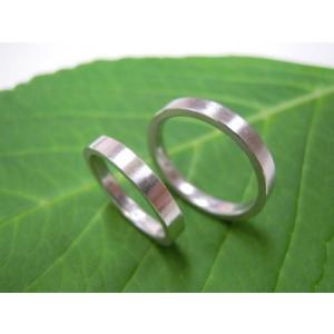 プラチナ結婚指輪(鍛造&彫金)荒仕上げ&荒削り シンプル&フラットな平打ち|kouki