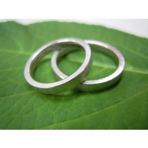 プラチナ結婚指輪(鍛造&彫金)荒仕上げ&荒削り シンプル&フラットな平打ち|kouki|04