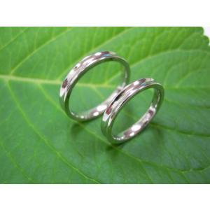 プラチナ結婚指輪(鍛造&彫金)光沢 内甲丸&逆甲丸|kouki|02