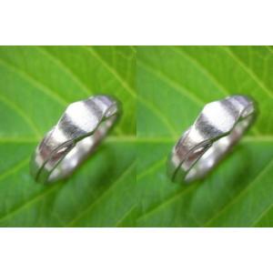 プラチナ結婚指輪(鍛造&彫金)荒仕上げ&荒削り 斬新な印台風リング|kouki