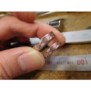 プラチナ 結婚指輪【本物の鍛造】光沢の平打ちリングに日本伝統模様の格子柄!格子模様が一周入ります kouki 14