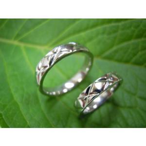 プラチナ結婚指輪(鍛造&彫金)光沢 平打ちリングに格子柄 格子模様|kouki|03