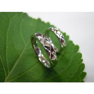 プラチナ結婚指輪(鍛造&彫金)光沢 平打ちリングに格子柄 格子模様|kouki|04